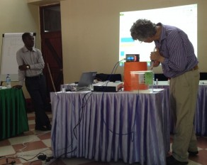 Richard Stirzaker (right) demonstrates some of the learning tools at the Inception workshop in Morogoro, Tanzania
